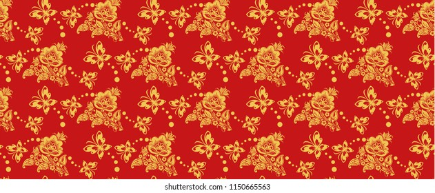 Traditional russian khokhloma style repeat pattern . Russian traditional seamless ornament in red and gold colors. Classic hohloma floral background