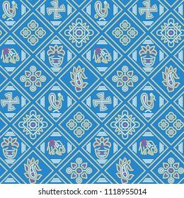 traditional seamless BANDHANI patola BLUE pattern