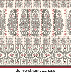 traditional seamless black red motif border