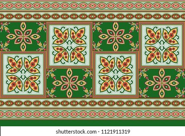 traditional seamless indian floral  motif green  border