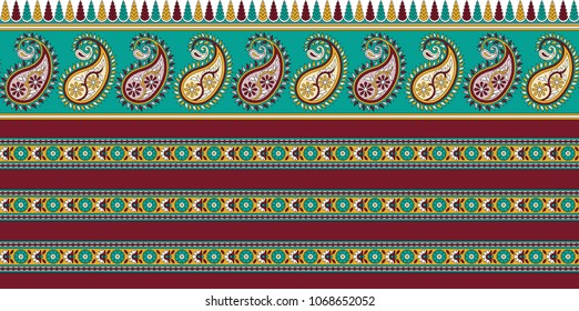 Traditional Seamless Indian Paisley Border