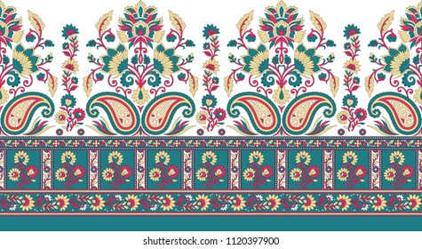 traditional seamless indian paisley  motif border