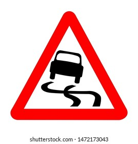 The traditional 'SKIDDING' triangle, traffic sign isolated on a white background..