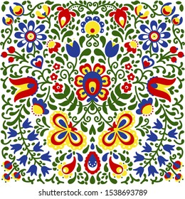 Traditional Slavic ornaments floral colorful background