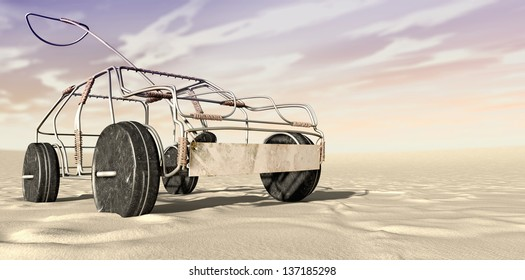 A traditional south african handmade wire toy car made out of metal and copper wire with tin cans as wheels in a desert landscape
