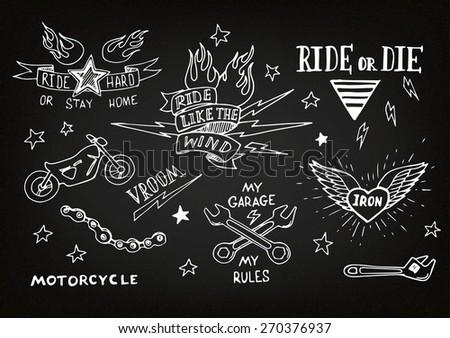 Royalty Free Stock Illustration Of Traditional Tattoo Biker Set