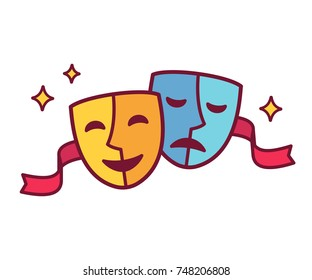 Traditional theater symbol, comedy and tragedy masks illustration with red ribbon. Yellow happy and blue sad mask icon.