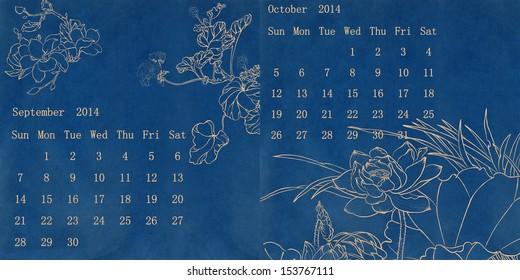 Traditional Themecalendar Peony Stock Illustration 153637991