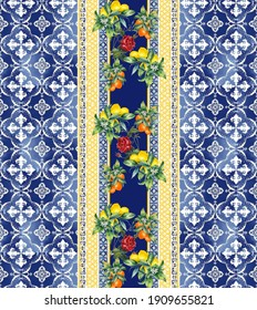 traditional tile motifs leaves, pattern