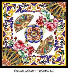 traditional tile motifs leaves, roses