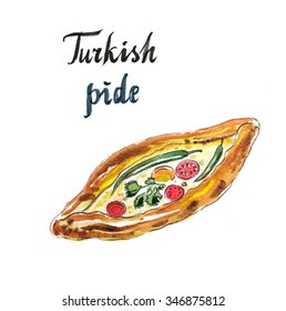 Traditional turkish pizza - pi-de with cheese, tomatoes and peppers, hand drawn, watercolor - Illustration