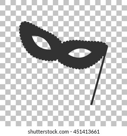 Traditional Venetian Carnival Decorative mask sign. Dark gray icon on transparent background.