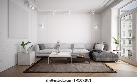 Traditional and vintage living room interior with modern furniture - 3 d rendering