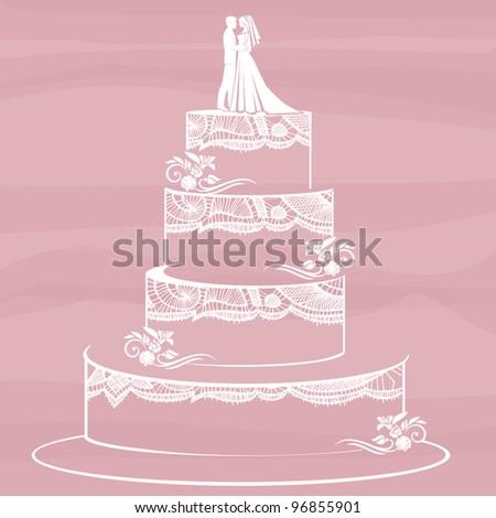 Traditional Wedding Cake On Pink Background Stock Illustration
