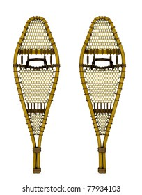 Traditional wood webbed snow shoes. Isolated illustration on clean white background.