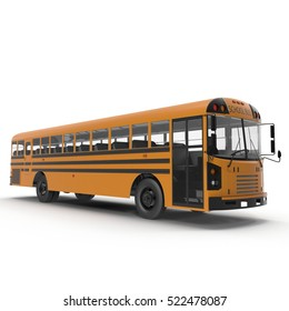 Traditional yellow schoolbus isolated on white. 3D illustration