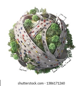 Traffic concept. Planet as concept for chaotic urban life. 3d illustration