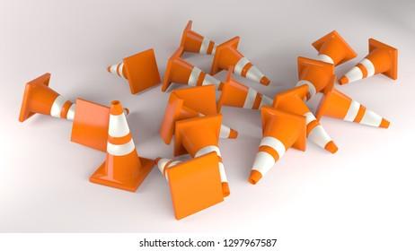traffic cone orange construction sign 3D illustration