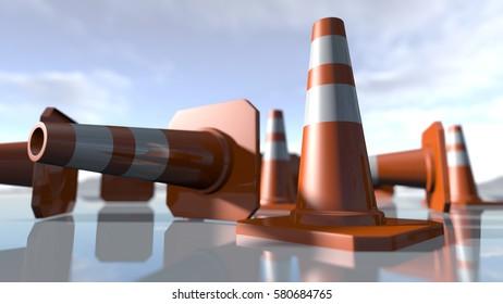 Traffic cone pilons. 3D rendering