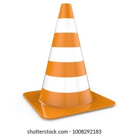 Traffic Cone. Single Traffic Cone, orange. 3d Render.
