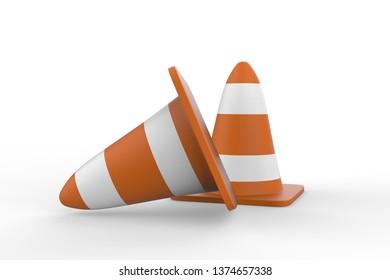 Traffic cones 3d illustration