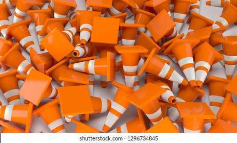 traffic cones construction 3D illustration