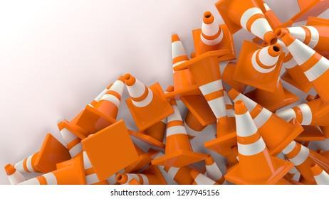 traffic cones in construction 3D illustration