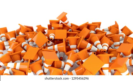 traffic cones heap in construction 3D illustration