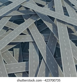 Traffic congestion, tangled road, top view. 3d illustration