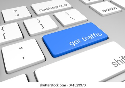 Traffic generation key on a computer keyboard for increasing website visitors