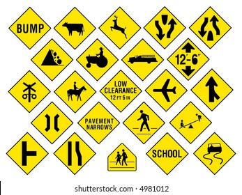 Traffic & Information Signs collection #14. Isolated