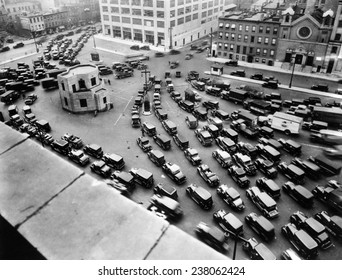 A Traffic jam at the New York entrance of the Holland Tunnel New York City ca 1920s
