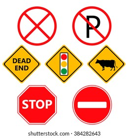 Traffic Laws labels for your product or design -traffic lights, attention, stop, stop banned, dead end and other