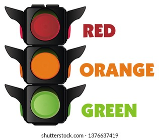 traffic light with colored words