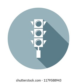 traffic light icon in Flat long shadow style. One of web collection icon can be used for UI, UX on white background