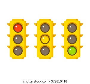 Traffic light icons in three states: red, yellow and green. Flat cartoon style illustration.