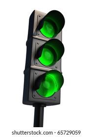 Traffic light isolated on white - 3d render