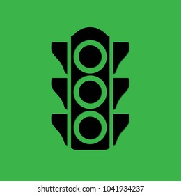 traffic light on a green background