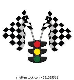 Traffic lights, finish flag, start flag, racing flag
