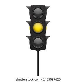 Traffic lights. Yellow lamp ON - warning sign. 3d illustration isolated on white background. Raster version