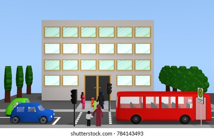 Traffic scene in front of a school with pedestrian traffic light. Text on sign in German: school bus, weekdays, 3d rendering