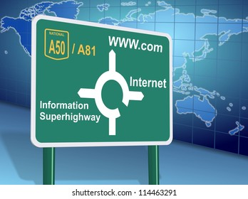 Traffic sign showing different internet related directions with world map in the background / Internet directions