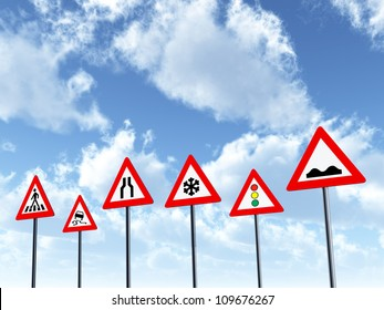 Traffic Signs Computer generated 3D illustration
