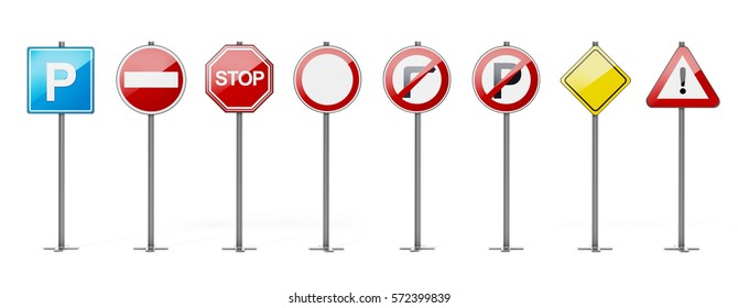 Traffic signs isolated on white background. 3D illustration.