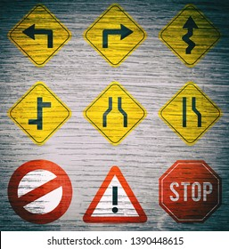 Traffic signs, wood background, texture.