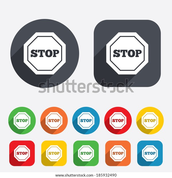 Traffic stop sign icon. Caution symbol. Circles and rounded squares 12 buttons.