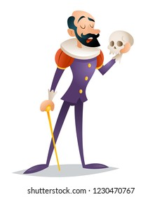 Tragic actor theater stage man medieval suit retro character isolated design  illustration