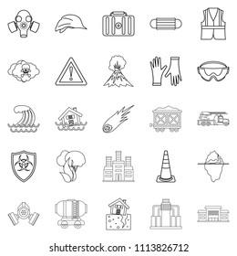 Tragic icons set. Outline set of 25 tragic icons for web isolated on white background