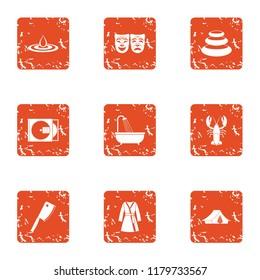 Tragic role icons set. Grunge set of 9 tragic role icons for web isolated on white background