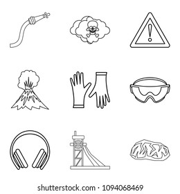 Tragical icons set. Outline set of 9 tragical icons for web isolated on white background